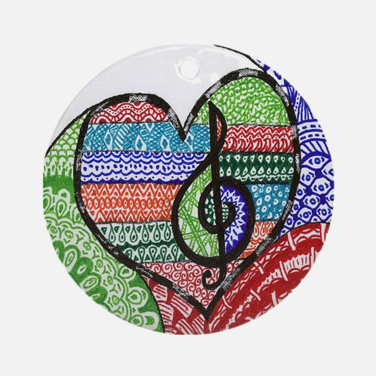 Music is a Song in Your Heart Round Ornament