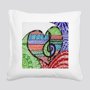 Music is a Song in Your Heart Square Canvas Pillow