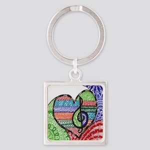 Music is a Song in Your Heart Square Keychain