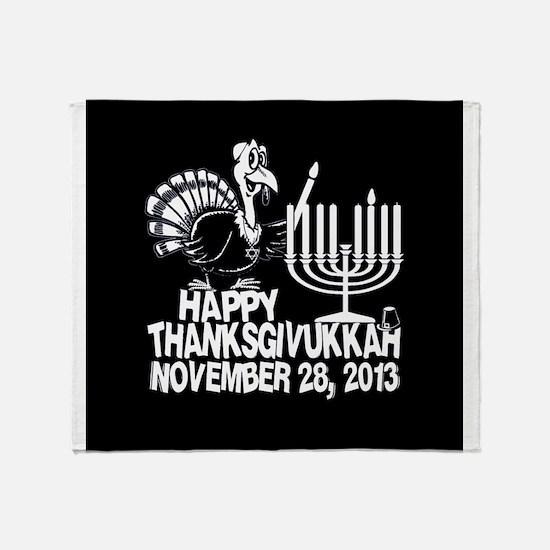 Happy Thanksgivukkah Turkey and Menorah Throw Blan