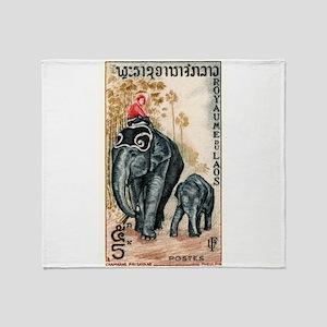 Vintage 1958 Laos Asian Elephants Postage Stamp Th