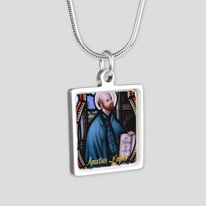 St Ignatius Loyola Silver Square Necklace