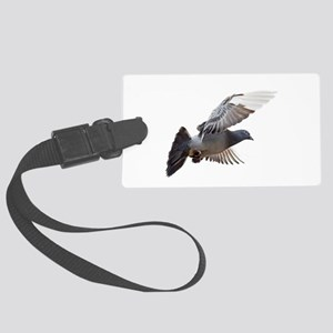 pigeon fly to love joy peace Large Luggage Tag