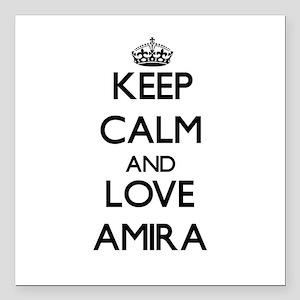 "Keep Calm and Love Amira Square Car Magnet 3"" x 3"""