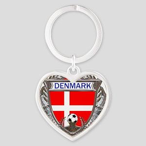 Denmark Soccer bear Heart Keychain