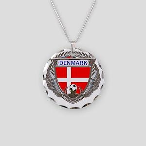 Denmark Soccer bear Necklace Circle Charm