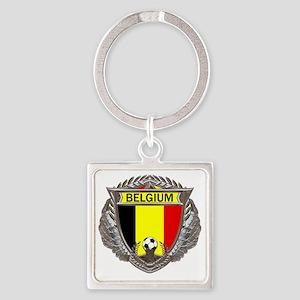 Belgium Soccer bear Square Keychain