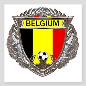 "Belgium Soccer bear Square Car Magnet 3"" x 3"""