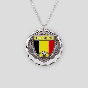 Belgium Soccer bear Necklace Circle Charm