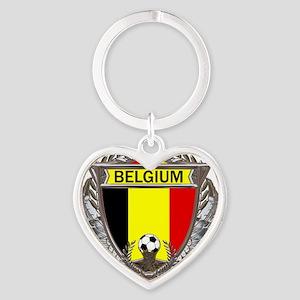 Belgium Soccer bear Heart Keychain