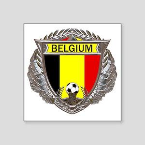 "Belgium Soccer bear Square Sticker 3"" x 3"""