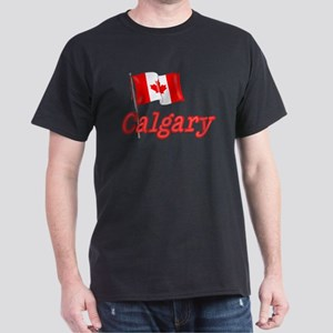 Canada Flag - Calgary Text Dark T-Shirt