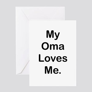 MY OMA LOVES ME Greeting Cards