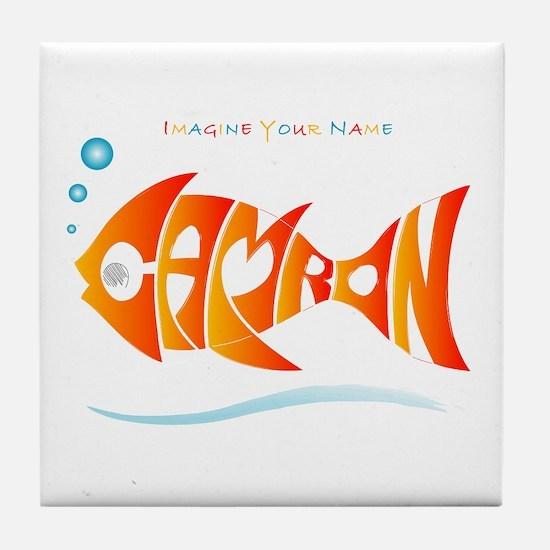 Camron orange fish (goldfish) Tile Coaster