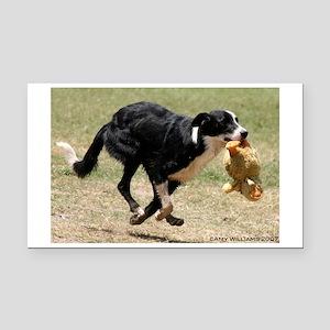 Playful Border Collie Dog Rectangle Car Magnet