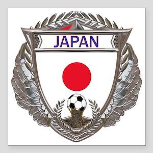 """2-Japan Soccer bear Square Car Magnet 3"""" x 3"""""""