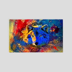 Rainbow Wolf 3'X5' Area Rug