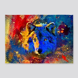 Rainbow Wolf 5'x7'Area Rug