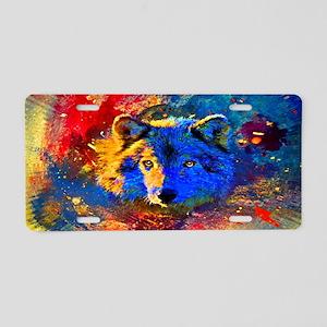 Rainbow Wolf Aluminum License Plate