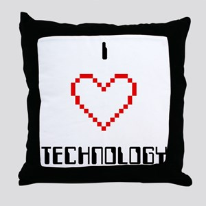 I Love (Heart) Technology - Throw Pillow