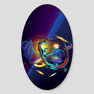 Blue Galaxy Dragon_journal Sticker (Oval)