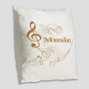 Music background Burlap Throw Pillow