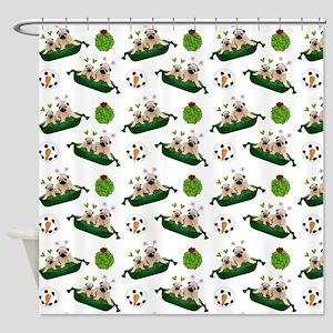 Christmas Pugs and Snowmen Shower Curtain
