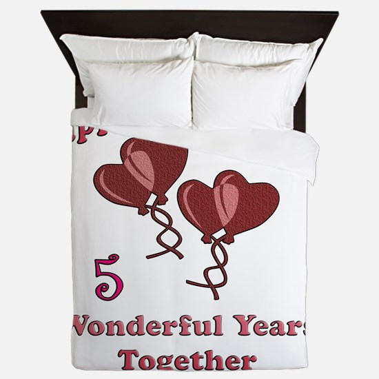 two hearts 5 Queen Duvet