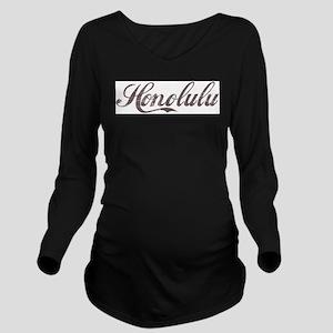 Vintage Honolulu Long Sleeve Maternity T-Shirt