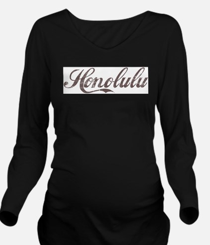 Vintage Honolulu Long Sleeve Maternity T-Shirt