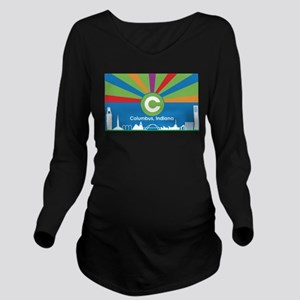 Columbus Flag Long Sleeve Maternity T-Shirt