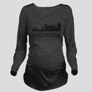 Baltimore Skyline Long Sleeve Maternity T-Shirt