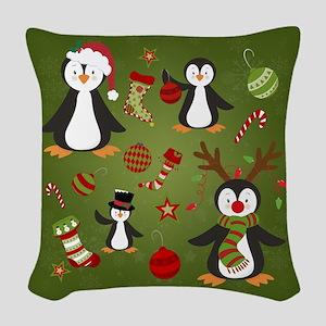 Christmas Penguins Woven Throw Pillow