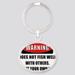 WARNING CENTERED Oval Keychain