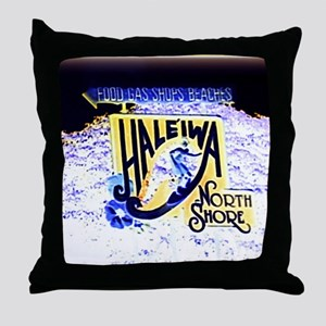 Haleiwa beach hawaii signs Throw Pillow