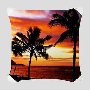Hawaiian beach sunset Woven Throw Pillow