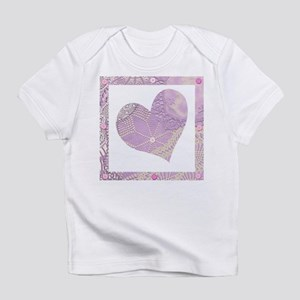 Lilac lace + buttons heart Infant T-Shirt