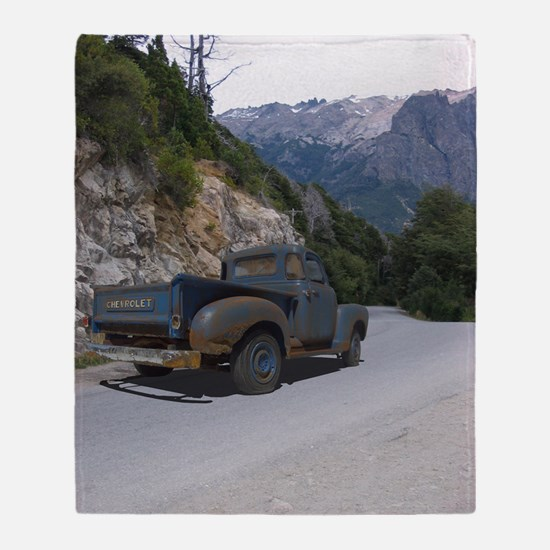 50 Ford Pick up - Mountains - Framed Throw Blanket