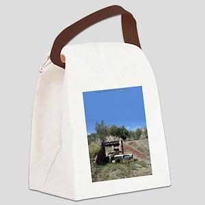 57 Ford fairlane - train bridge - Canvas Lunch Bag