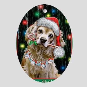 Cocker Spaniel Happy Holidays Oval Ornament