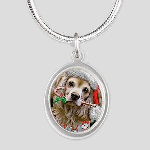 Cocker Spaniel Happy Holidays Silver Oval Necklace