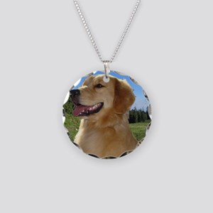 Dog and hiking Necklace Circle Charm