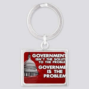 5x3 oval Government is the Prob Landscape Keychain