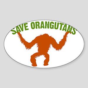Save Orangutans large rect. Sticker (Oval)