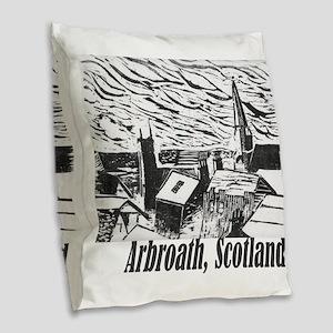 arbroath_woodcut2 Burlap Throw Pillow