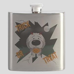 SheepdogHalloweenShirt1 Flask