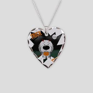 SheepdogHalloweenShirt1 Necklace Heart Charm