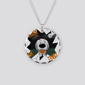 SheepdogHalloweenShirt1 Necklace Circle Charm