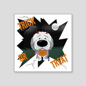 "SheepdogHalloweenShirt1 Square Sticker 3"" x 3"""