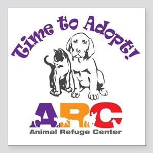 """2-time_to_adopt Square Car Magnet 3"""" x 3"""""""
